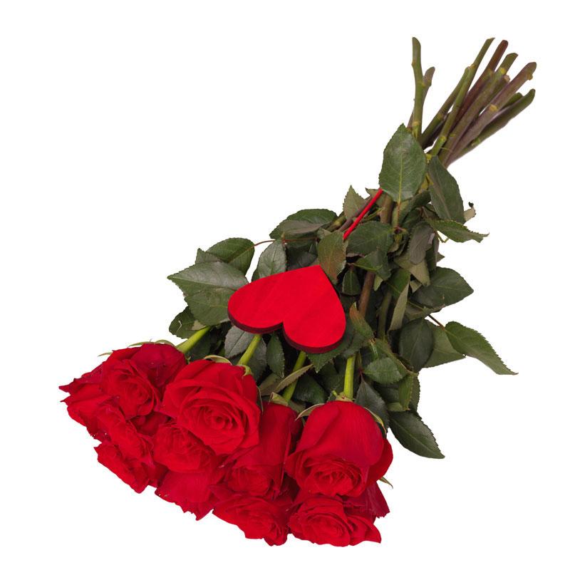 11 róż z sercem Laflora
