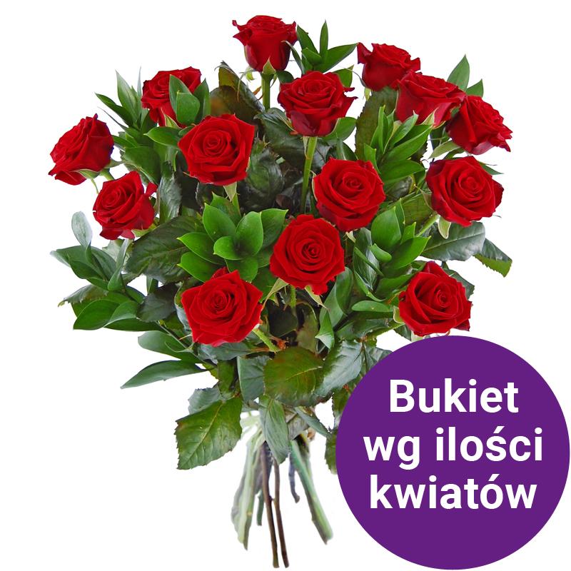 17 róż z przybraniem Kwiaty